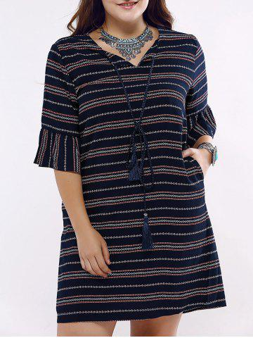 Best Ethnic Style Flounce Sleeve Plus Size Striped Dress For Women
