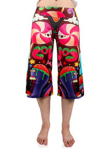 Best Cute Elastic Waist Candy Print Women's Wide Leg Pants