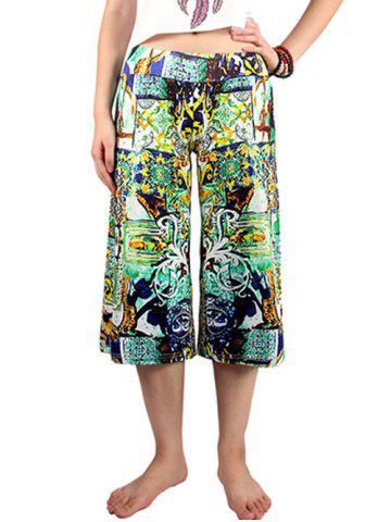 Fancy Casual Elastic Waist Printed Women's Wide Leg Pants