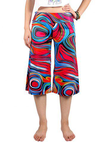 Store Casual Elastic Waist Abstract Print Women's Wide Leg Pants