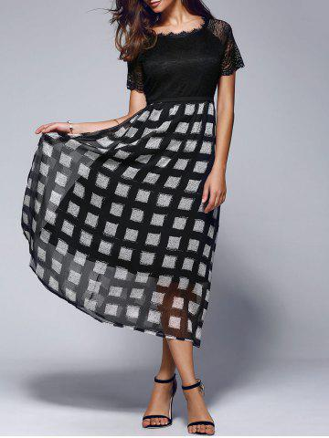 Online Lace Splicing Plaid Maxi Dress