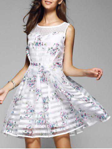 Trendy Sweet Striped Splicing Floral Dress