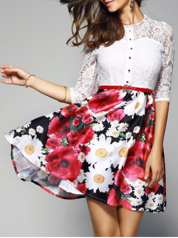 Latest Lace Spliced Floral Print Belted Dress