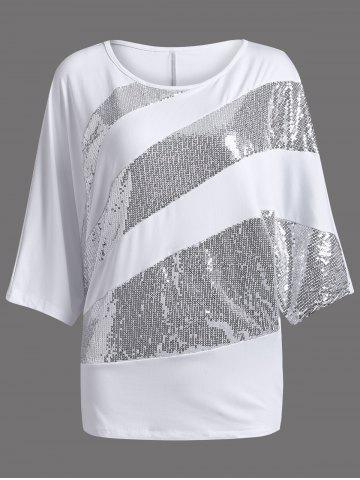 Discount Sequin Embellished Loose Top WHITE 2XL