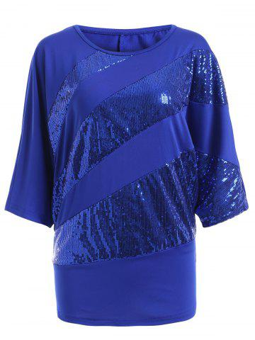 Buy Sequin Embellished Loose Top SAPPHIRE BLUE 2XL