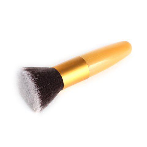 Stylish Bullet Shape Handle Nylon Flat Blush Brush - Golden