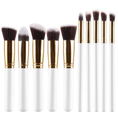 Sale Stylish 10 Pcs Multifunction Soft Fiber Face Eye Makeup Brushes Set WHITE