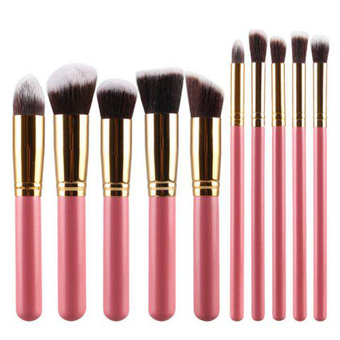 Stylish 10 Pcs Multifunction Soft Fiber Face Eye Makeup Brushes Set - Pink