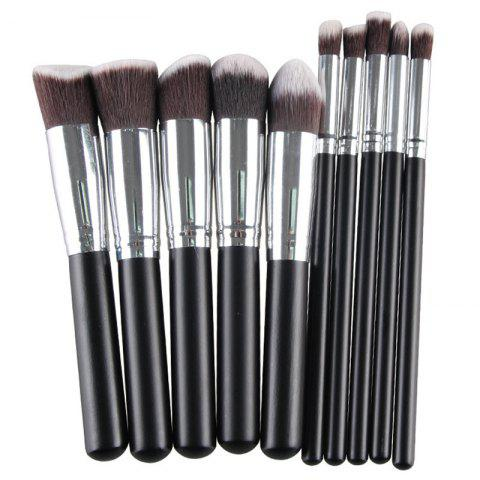 Discount Stylish 10 Pcs Fiber Powder Brush Eyeshadow Brush Face Eye Makeup Brushes Set - BLACK  Mobile