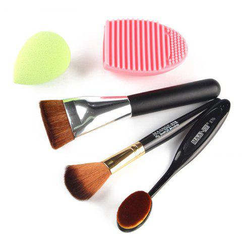 Outfit Stylish 5 Pcs/Set Blush Brush + Foundation Brush + Flat Contour Brush + Makeup Sponge + Brush Egg COLORMIX