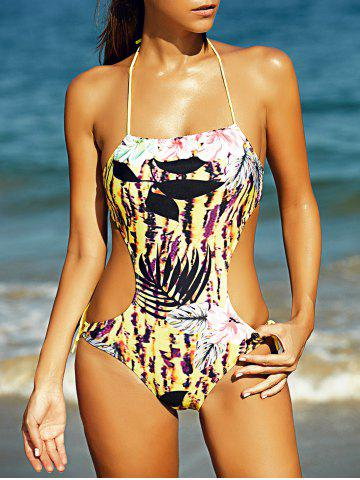 Outfits Halter Full Print Hollow Out Women's One-Piece Swimsuit COLORMIX L