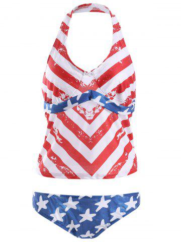 Online Halter Backless American Flag Tankini with Padded Cups BLUE AND RED XL