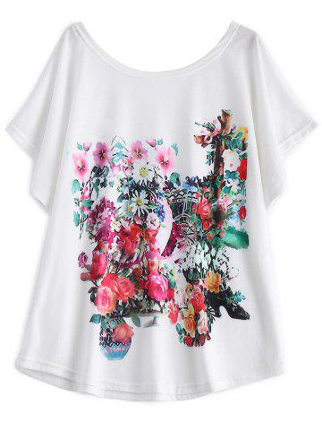 Discount White Batwing Sleeve Floral Print T-Shirt WHITE 2XL