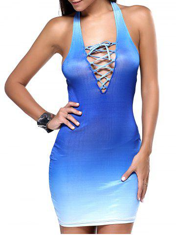 Outfit Open Back Lace-Up Graduated Blue Dress