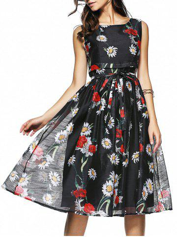 Affordable Floral Print Sleeveless Belt-Tie Women's Chiffon Dress
