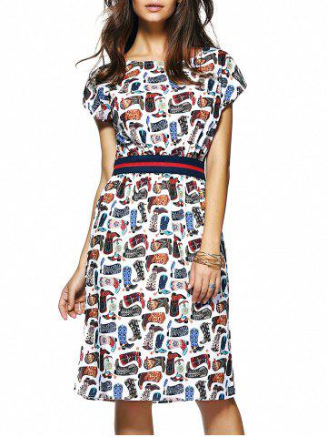 Fashion Short Sleeve Printed Elastic Waist Women's Dress