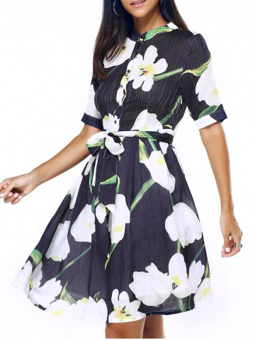 Affordable Graceful Women's Stand-Up Collar Floral Print Chiffon Dress
