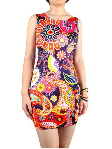 Fashion Charming Abstract Floral Print Skinny Women's Dress