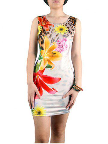 Latest Alluring 3D Floral Print Leopard Pattern Skinny Women's Dress