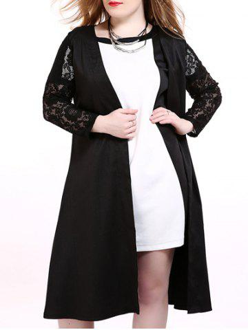 Plus Size Lace Trim Longline Cardigan - Black - 3xl