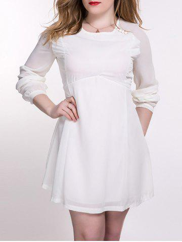 Buy Plus Size Chiffon Backless Long Sleeve Dress OFF WHITE 5XL