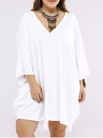 Affordable Batwing Sleeve Low Cut Short Dress WHITE 2XL