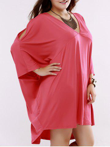 Chic Batwing Sleeve Low Cut Short Dress - 4XL WATERMELON RED Mobile