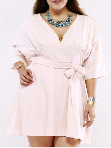 New Plus Size Chic Tie Front Ruched Dress SHALLOW PINK 5XL