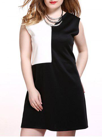 Hot Plus Size Color Block Sleeveless Dress