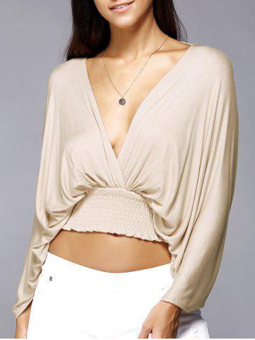 Trendy Plunge Neck Backless Dolman Sleeve Stretched Waist Cropped Blouse