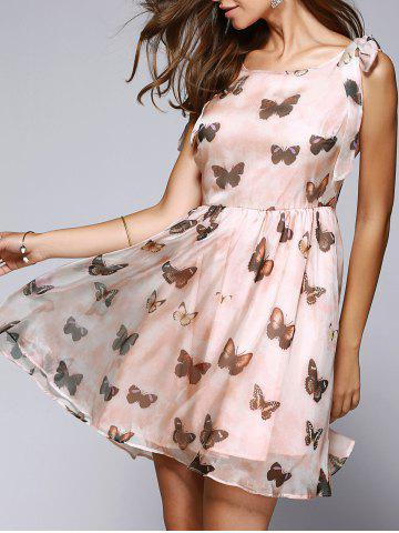 Buy Butterfly Print Bowtie Sleeveless Skater Dress