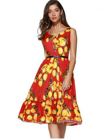 Store Printted Sleeveless Back Zip Up Button Flounce Midi Dress