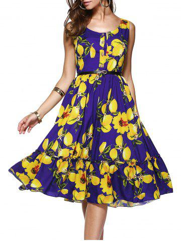 Outfits Printted Sleeveless Back Zip Up Button Flounce Midi Dress
