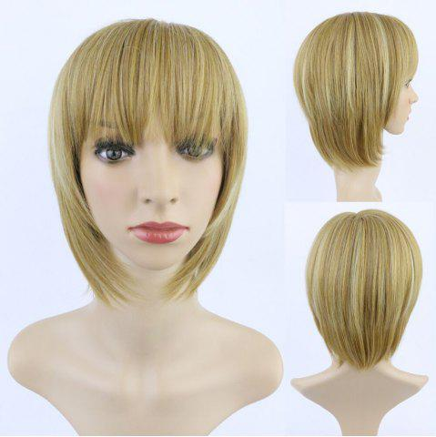 Unique Fashion Short Straight Full Bang Mixed Color Women's Synthetic Hair Wig