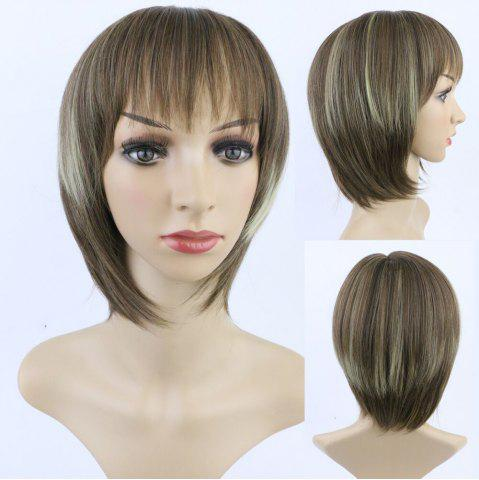 Best Stylish Short Straight Full Bang Mixed Color Women's Synthetic Hair Wig