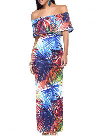 Chic Off The Shoulder Tropical Print Slimming Maxi Dress