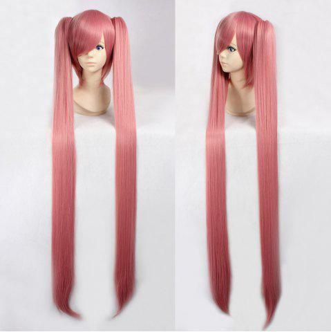 Chic Fashion Smoke Pink Synthetic Straight Long with Bunches Luka Hatsune Miku Cosplay Wig PINK