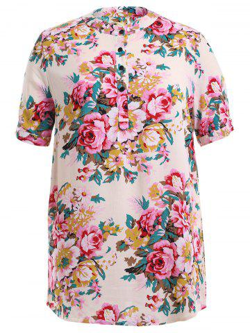 Discount Peony Flower Print Buttoned Dress - 2XL OFF-WHITE Mobile