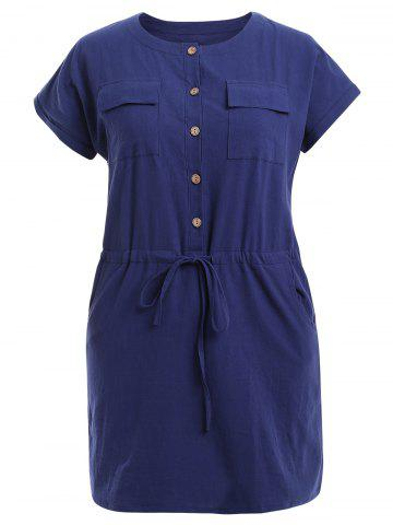 New Drawtring Pocket Design Buttoned Dress - 2XL PURPLISH BLUE Mobile