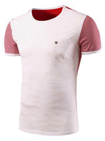 Shop Casual Stripe Spliced Round Neck Short Sleeve T-Shirt For Men WHITE 2XL