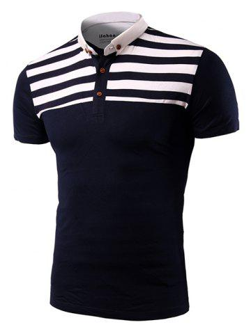 Store Casual Stripe Spliced Turn-Down Collar Short Sleeve T-Shirt For Men CADETBLUE 2XL
