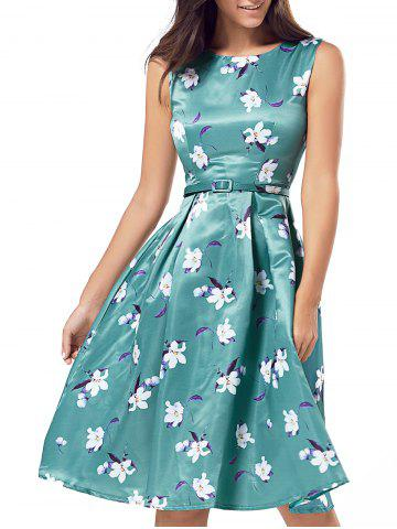 Affordable Belted Printed High Waist Dress GREEN M