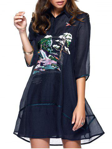 New Trendy Women's Shirt Collar Sequin Chiffon Dress and Tank Dress