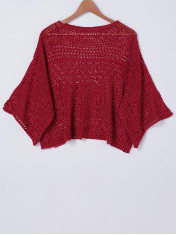 Unique Stylish RoundNeck HollowOut Batwing Sleeve Top For Women