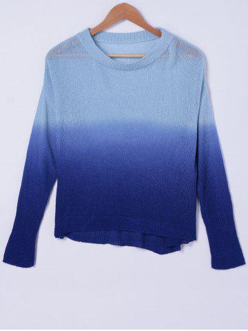 Discount Casual Ombre Scoop Neck Long Sleeves Sweater For Women