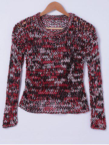 Store Stylish Round Neck Openwork Weave Top For Women