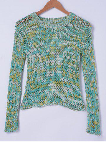 Sale Stylish Round Neck Openwork Weave Top For Women