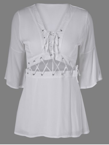 Outfits Stylish Lace-Up Plunging Neck  Bell Sleeves A-Line Dress For Women