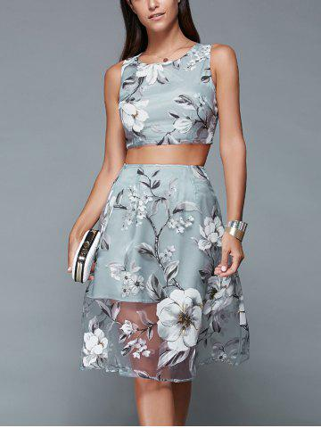 Fancy Floral Print Crop Top and Mesh Spliced Skirt Two Piece Prom Dress