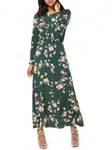 Cheap Long Sleeve Buttoned Floral Print Women's Maxi Dress GREEN M